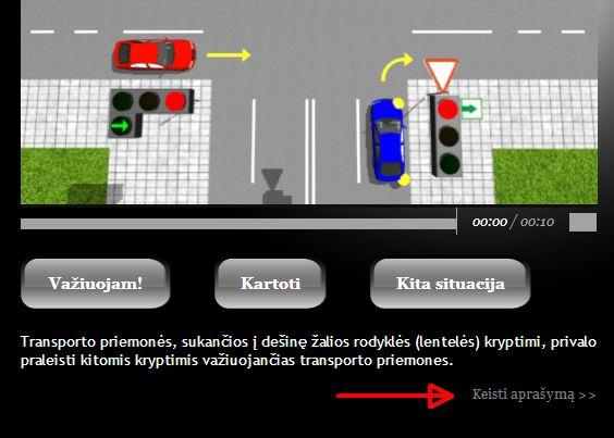 Vairavimo pamokos - kaip keisti situacijos aprašymą